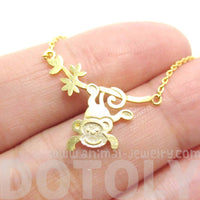 Monkey Chimpanzee Dangling From Branch Shaped Necklace