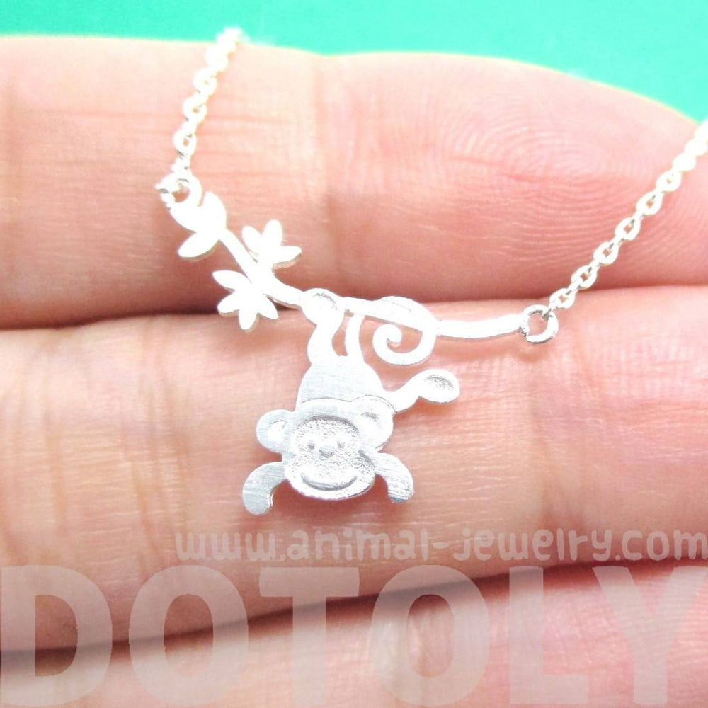 Silver Monkey Chimpanzee Dangling From Branch Necklace