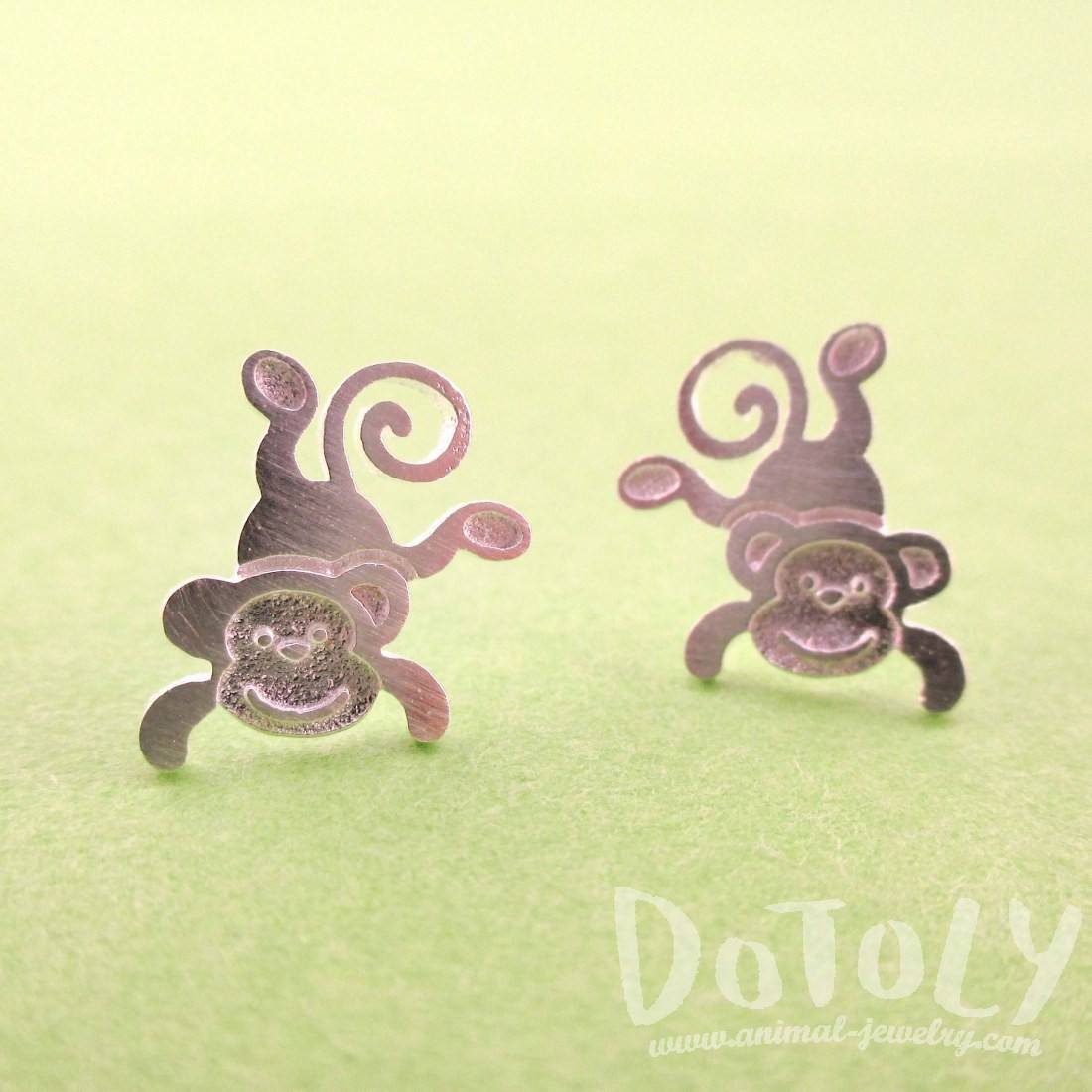 Cute Monkey Chimpanzee Shaped Allergy Free Stud Earrings in Silver