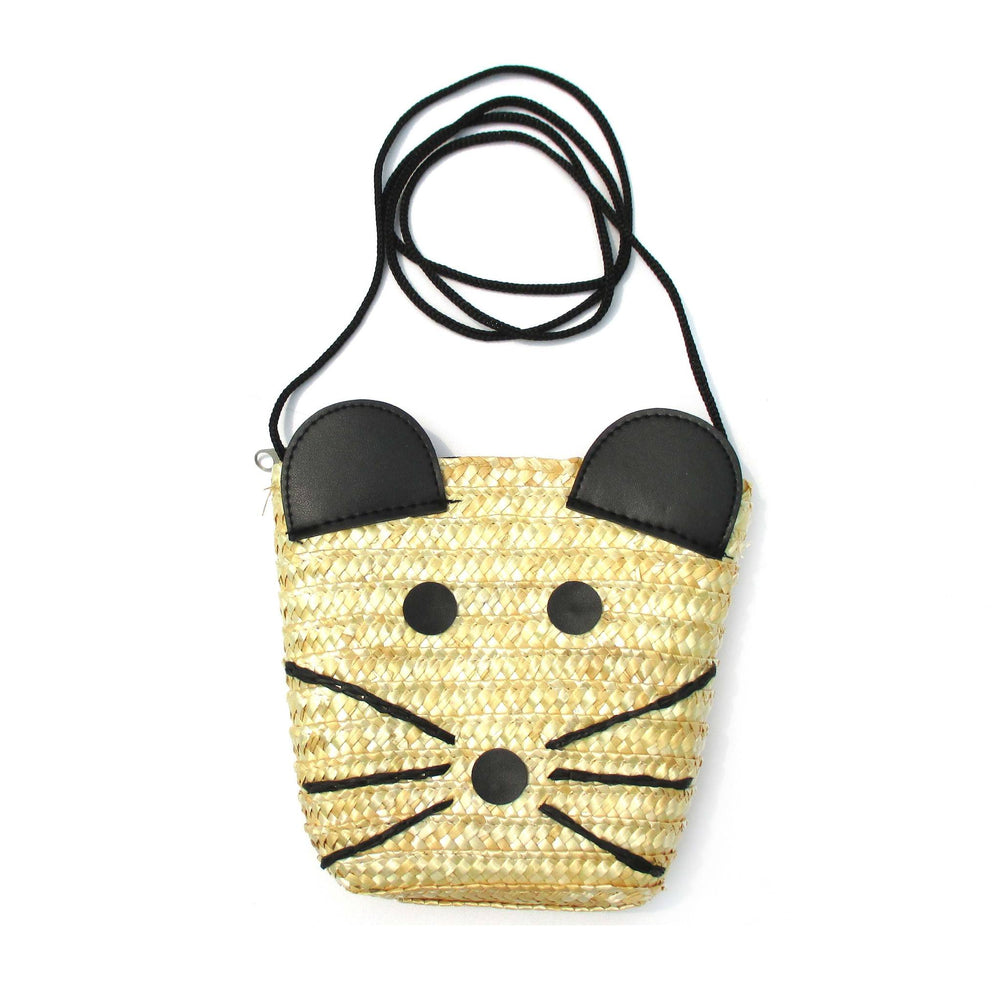 Cute Mouse Mice Face Shaped Straw Woven Cross Body Summer Beach Bag