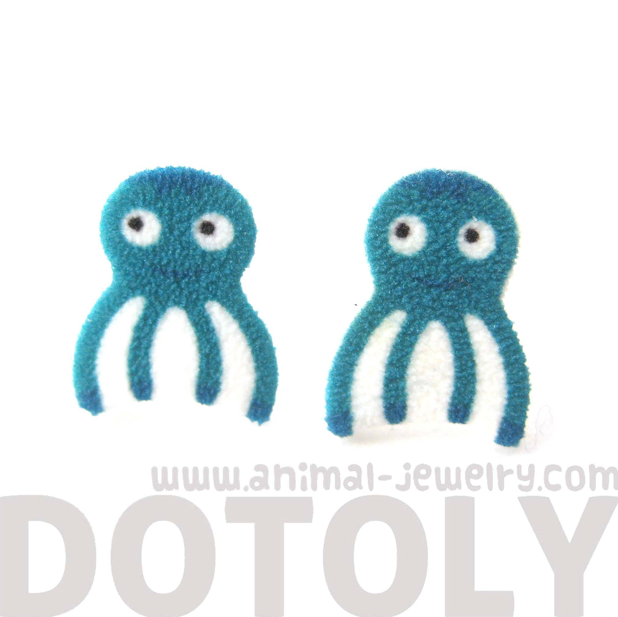 Cute Octopus Sea Animal Illustration Stud Earrings | Handmade Shrink Plastic