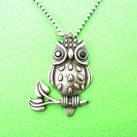 Owl On A Branch Bird Shaped Animal Pendant Necklace in Silver