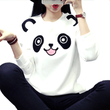 Cute Panda Bear Face Print Long Sleeve Pullover Sweater