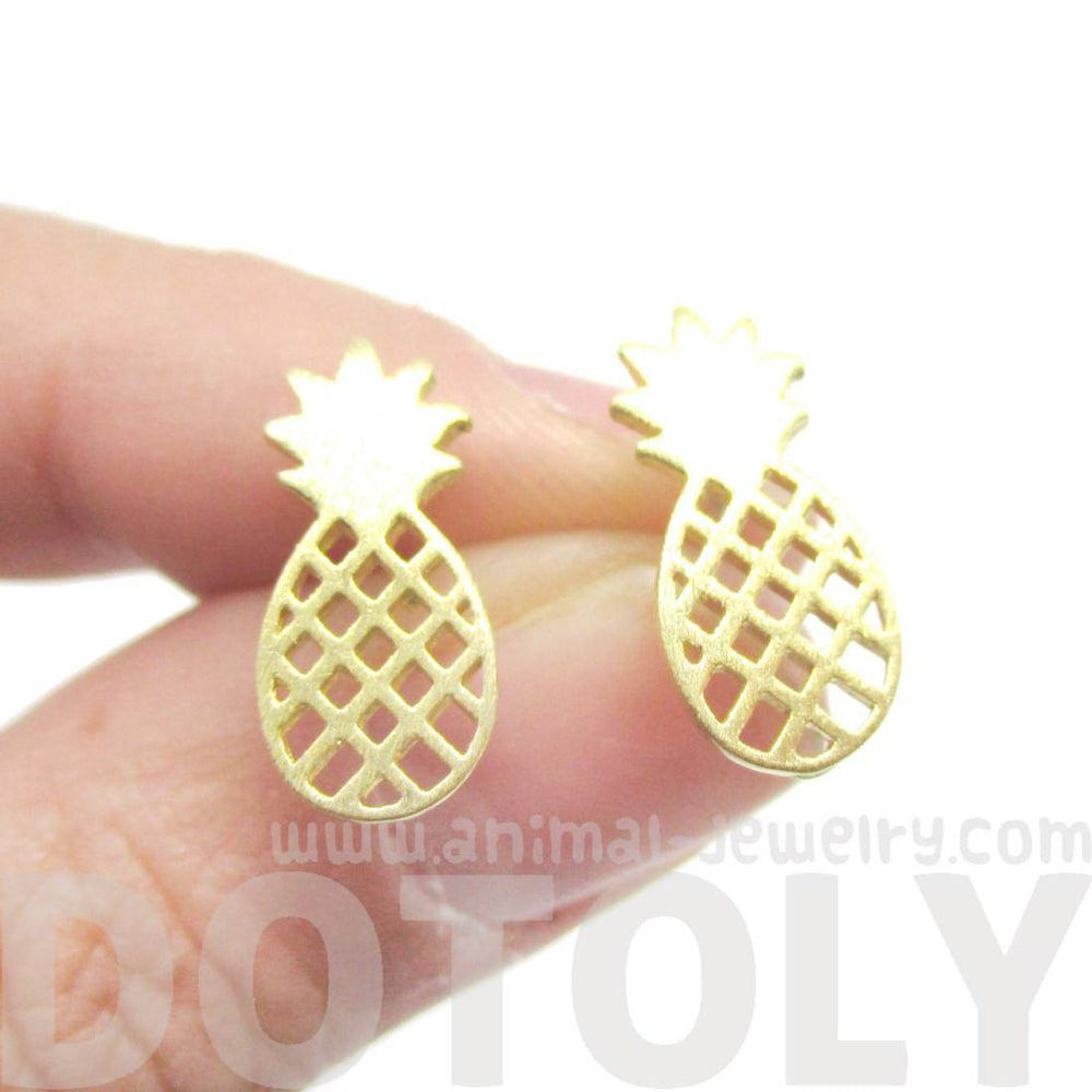 Cute Pineapple Shaped Stud Earrings in Gold | DOTOLY