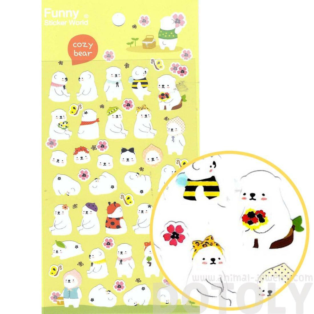 Cute Polar Bear Shaped Animal Themed Illustrated Scrapbooking Stickers