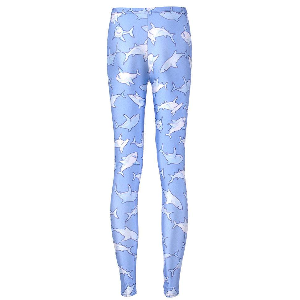 Cute Sharks All Over Print Stretch Leggings for Women in Blue | DOTOLY