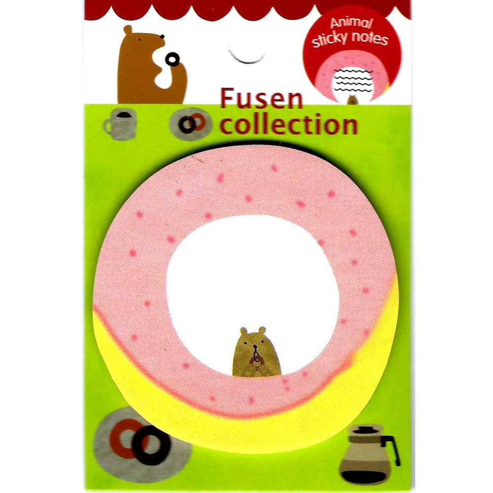 Cute Teddy Bear Donut Shaped Animal Adhesive Post-it Memo Pad
