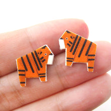 cute-tiger-animal-origami-illustration-stud-earrings-handmade-shrink-plastic
