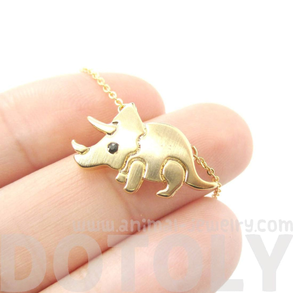 Gold Triceratops Shaped Jurassic World Pendant Necklace