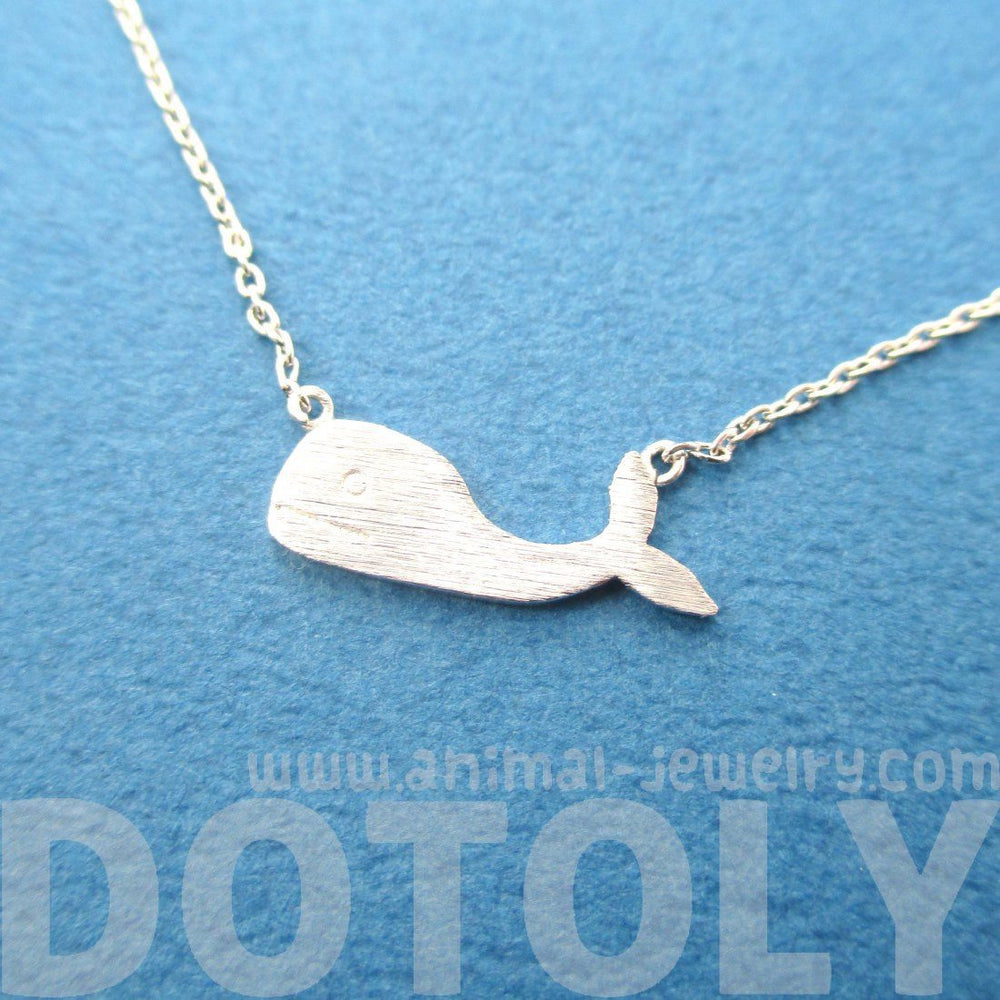 Cute Whale Silhouette Shaped Animal Pendant Necklace in Silver