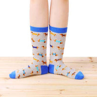 Dachshund Puppy Dog Print Animal Themed Socks in Grey