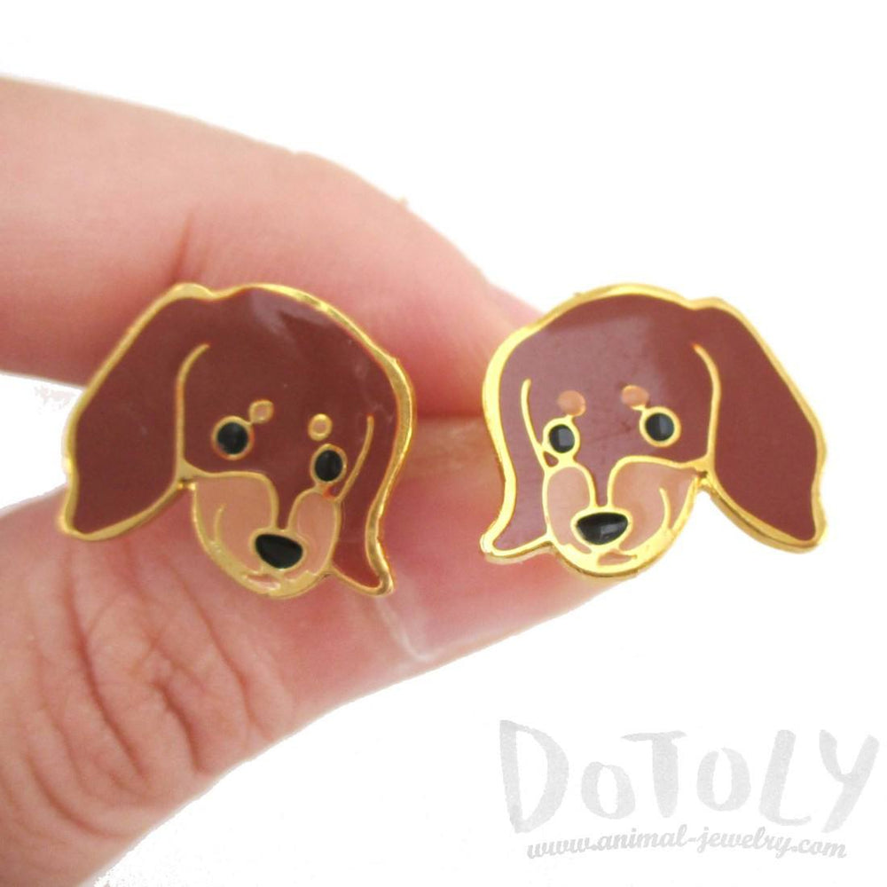 Dachshund Puppy Wiener Dog Face Shaped Stud Earrings | Limited Edition