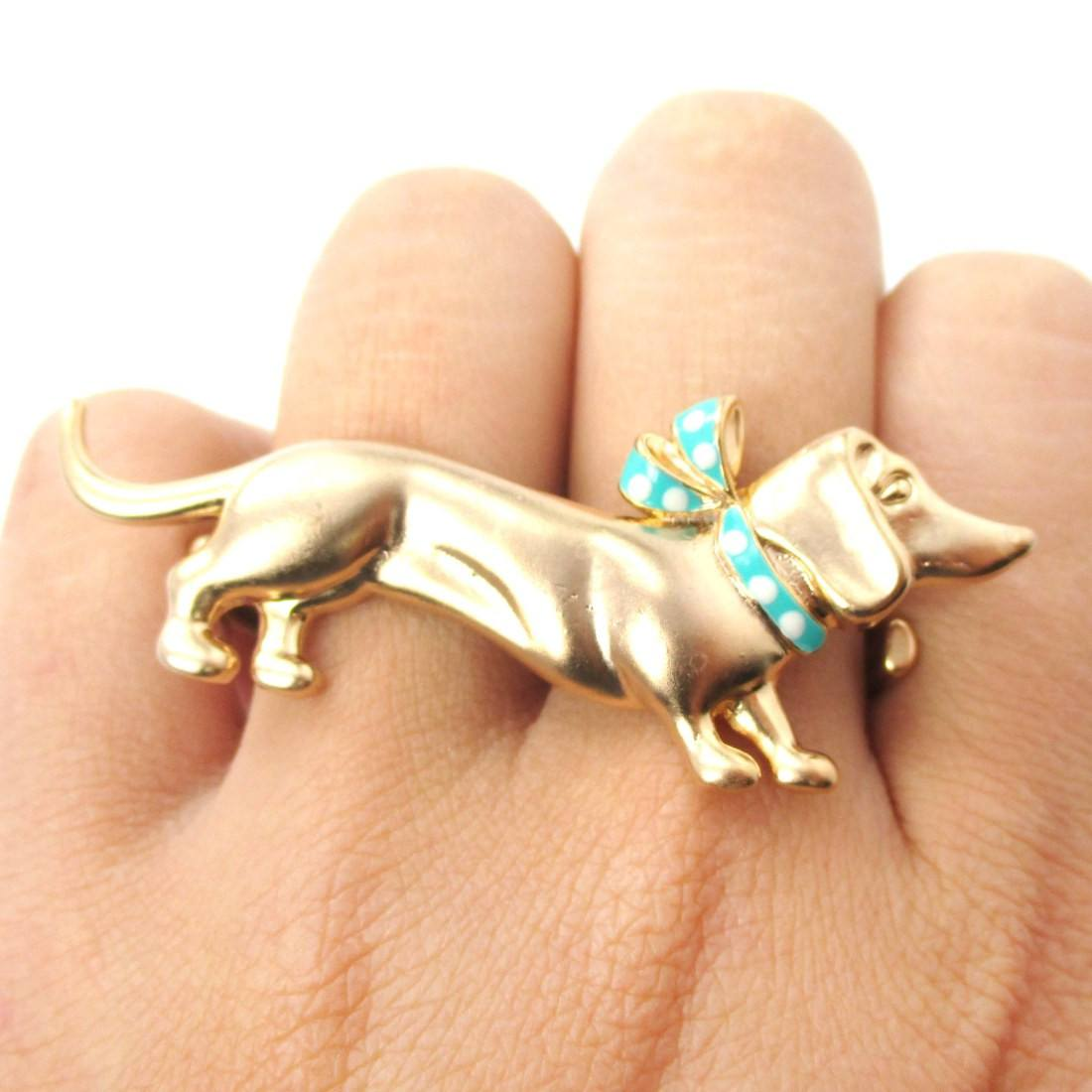 Dachshund With A Scarf Shaped Double Finger Animal Ring