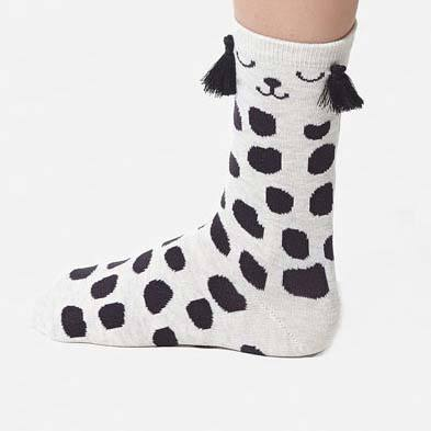 Dalmatian Puppy Dog with Polka Dots and Tassel Detail Cotton Socks