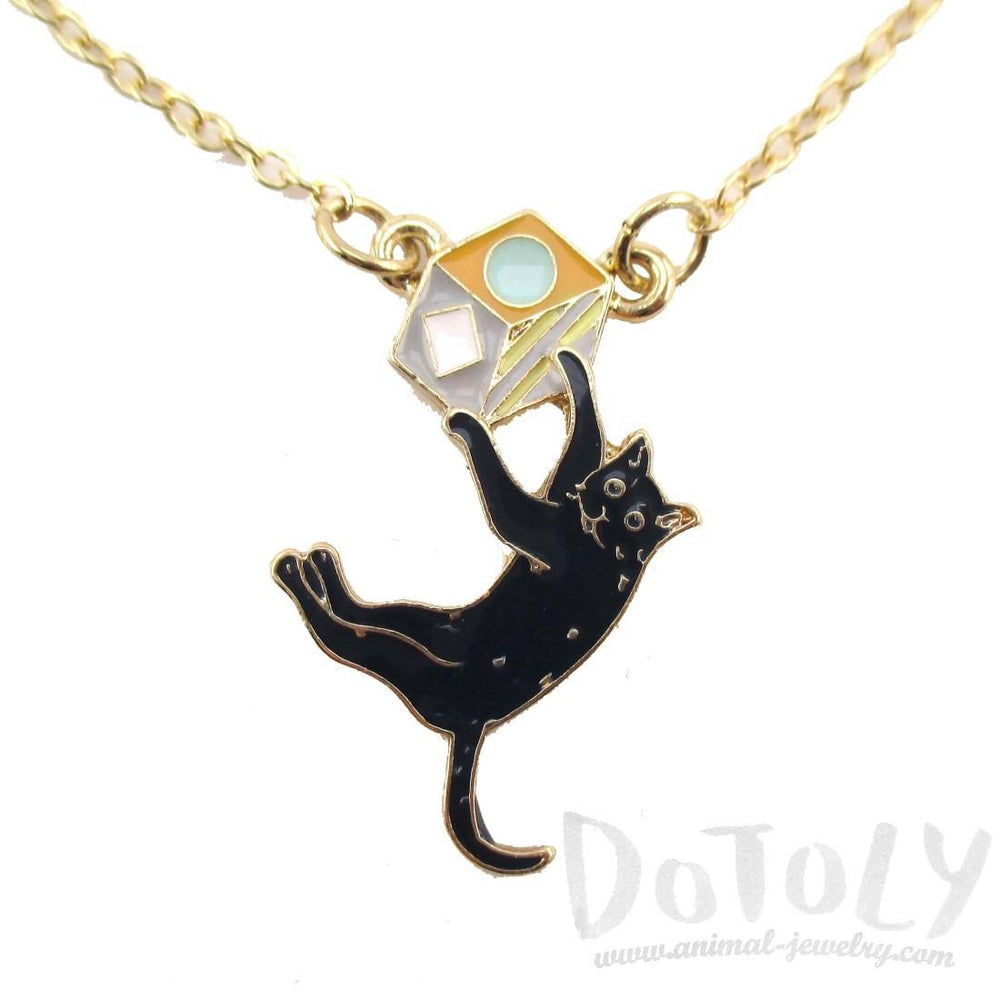 Dangling Kitty Cat Enamel Pendant Necklace | DOTOLY