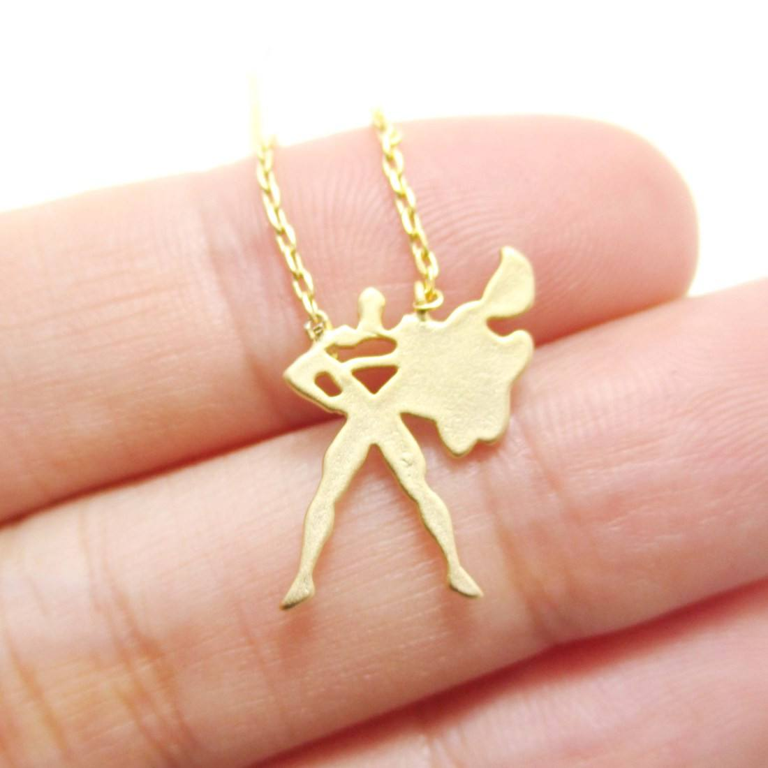 Superman Silhouette Shaped Pendant Necklace in Gold