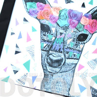 Deer Doe With Floral Headband Aztec Print Shopper Tote Shoulder Bag