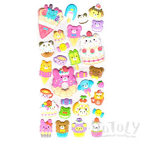 Dessert Sweets Food Themed Bear Animal Shaped Puffy Stickers