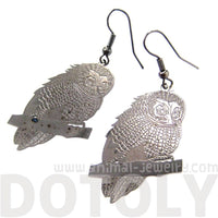 Detailed Barn Owl Shaped Dangle Earrings Dark Silver | Animal Jewelry