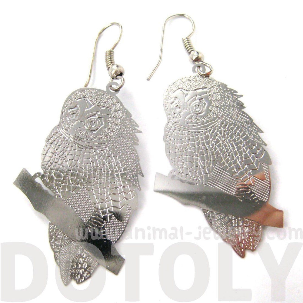 Detailed Barn Owl Shaped Dangle Earrings in Silver | Animal Jewelry