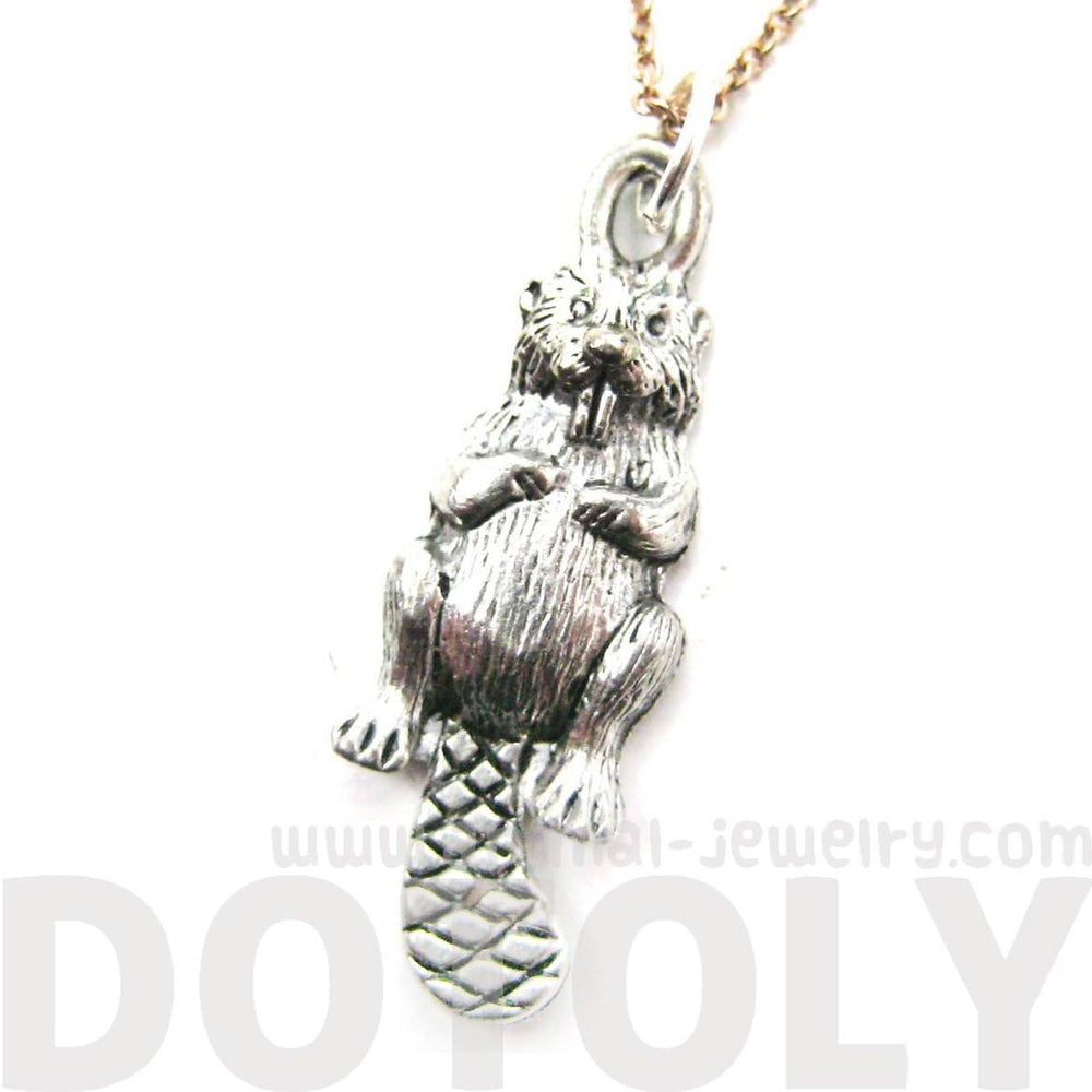 Detailed Beaver Shaped Animal Charm Necklace in Silver | MADE IN USA