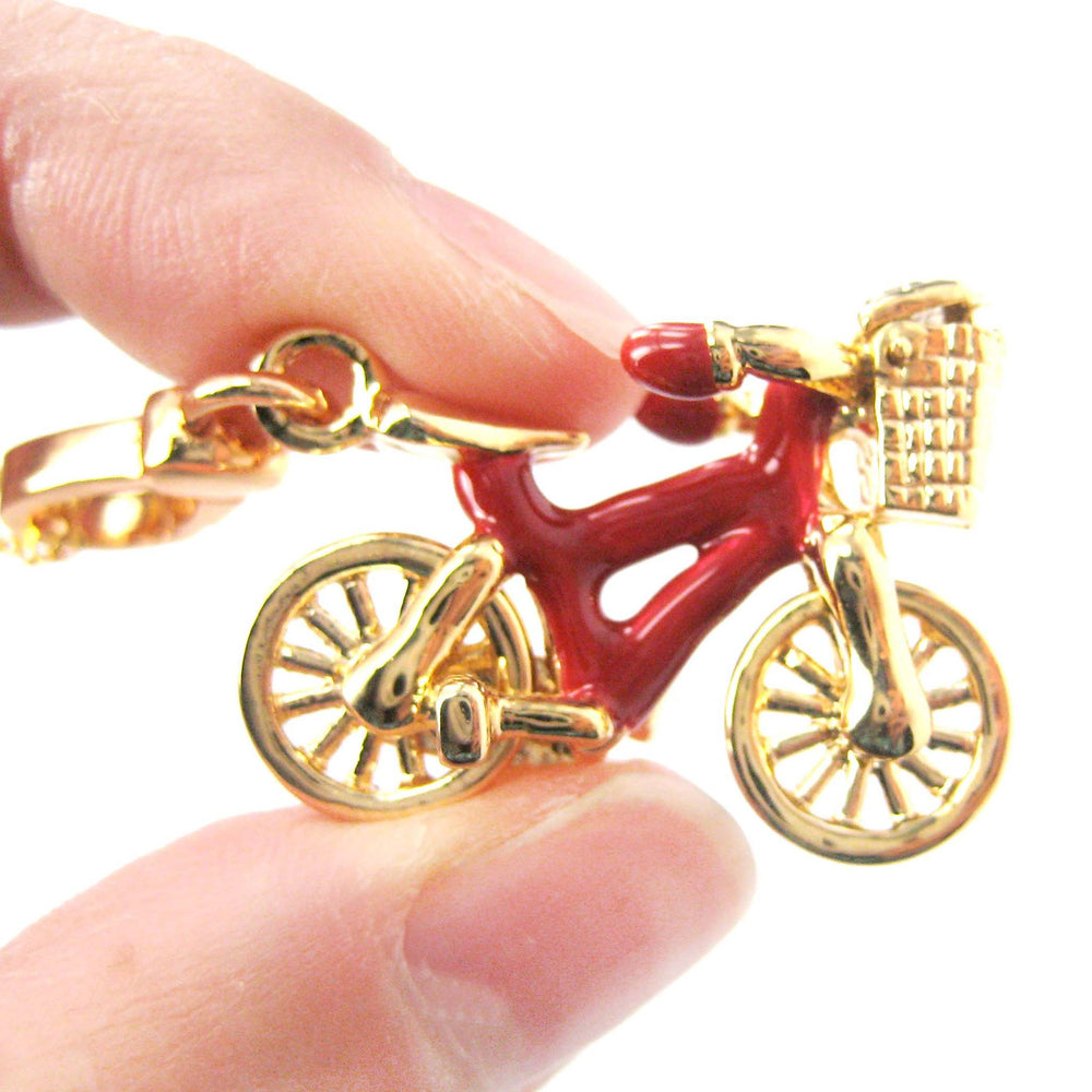 Detailed Bicycle With Basket Pendant Necklace in Red and Gold | DOTOLY