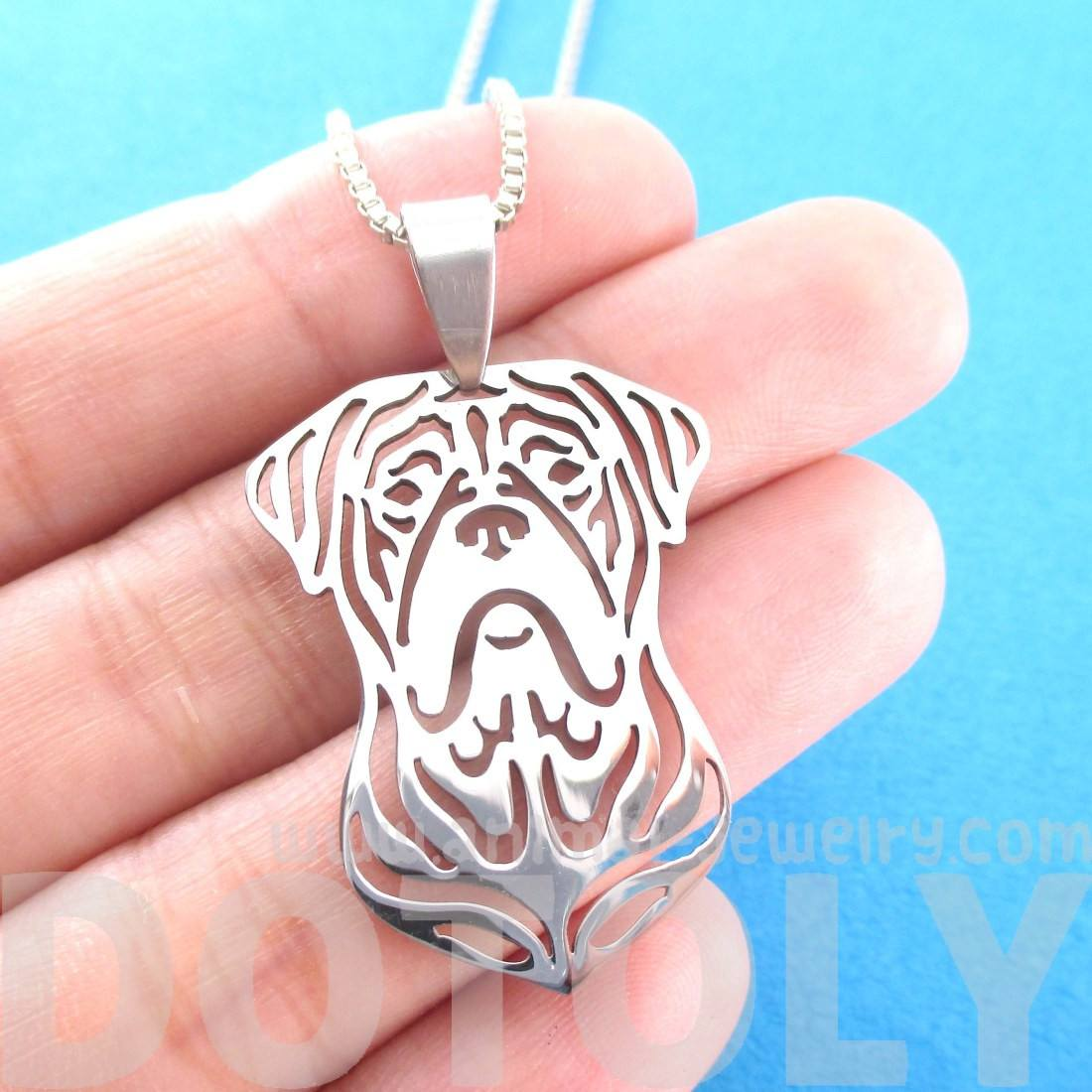 Bordeauxdog Shaped Cut Out Pendant Necklace in Silver