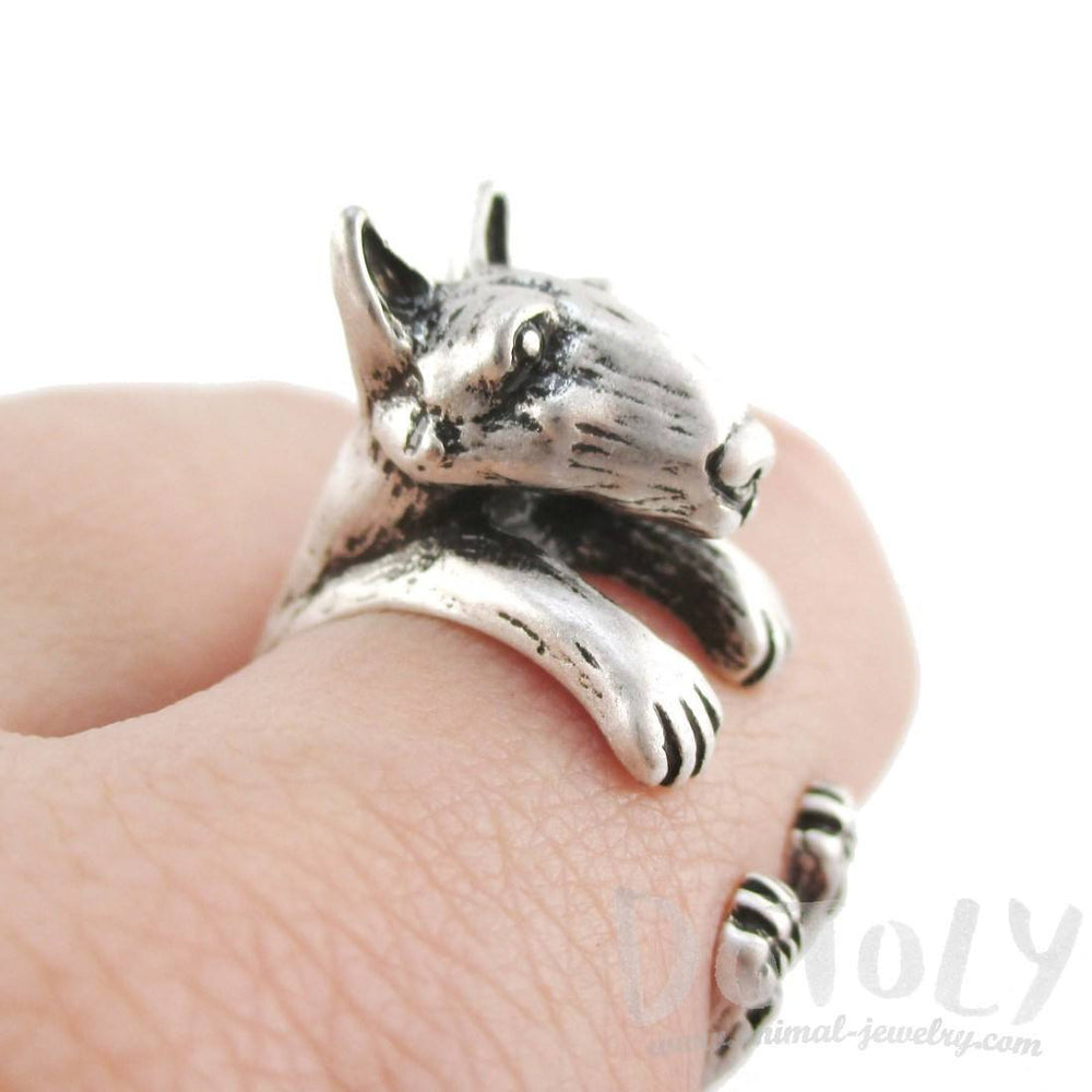 3D Bull Terrier Dog Shaped Animal Wrap Ring in Silver