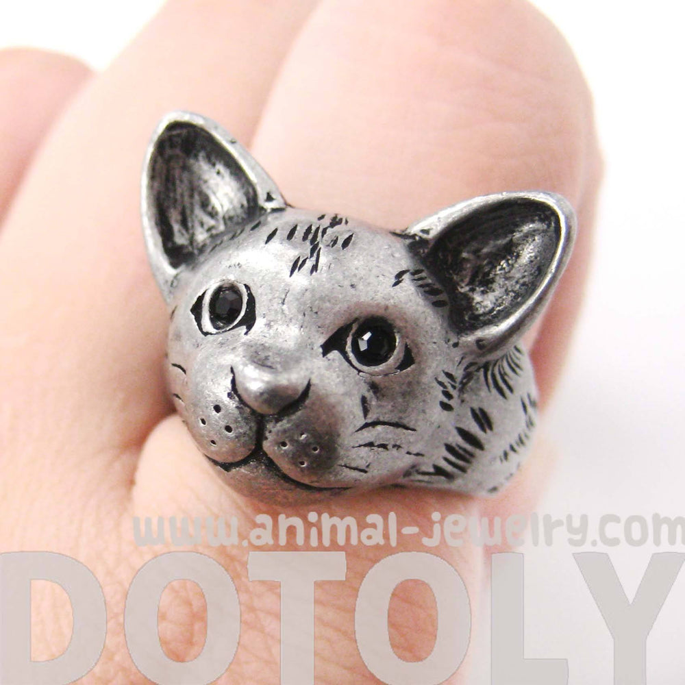 Detailed Cat Head Face Shaped Animal Ring in Silver | Animal Jewelry