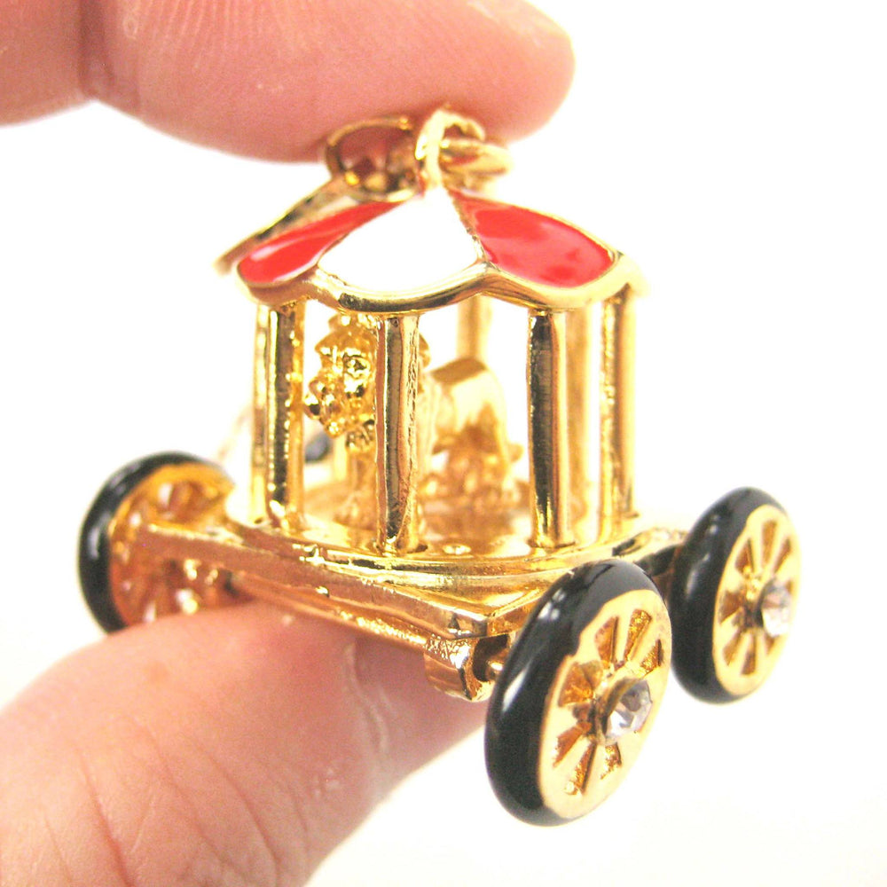 Detailed Circus Zoo Lion in a Cage Carriage Wagon Pendant Necklace