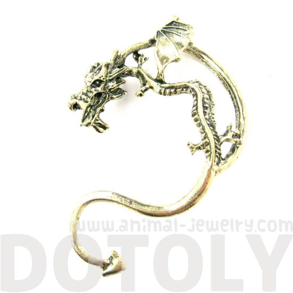 Detailed Dragon Animal Wrap Ear Cuff in Brass | Animal Jewelry
