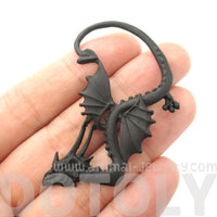 Detailed Dragon Shaped Animal Themed Ear Cuff in Black | DOTOLY