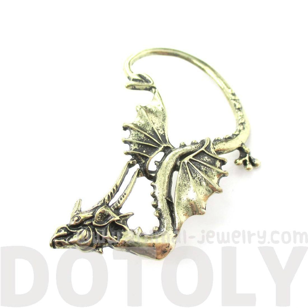 Detailed Dragon Shaped Animal Themed Ear Cuff in Brass | DOTOLY