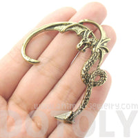 Detailed Dragon Shaped Animal Wrap Ear Cuff in Brass | Animal Jewelry