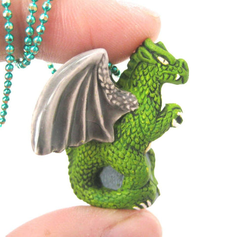 Dragon Shaped Porcelain Ceramic Targaryen Pendant Necklace in Green