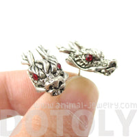 Detailed Dragon Head Shaped Stud Earrings in Silver with Rhinestones