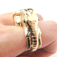 Detailed Elephant Head Shaped Animal Ring in Shiny Gold | Sizes 7 to 9