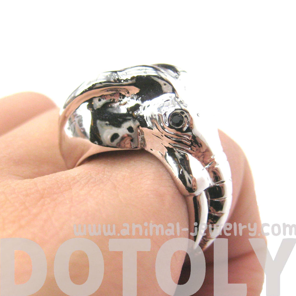 Detailed Elephant Head Shaped Animal Ring in Shiny Silver | Size 7 - 9