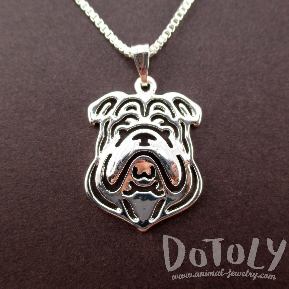 English Bulldog Shaped Cut Out Pendant Necklace in Silver