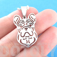 French Bulldog Shape Cut Out Pendant Necklace in Silver
