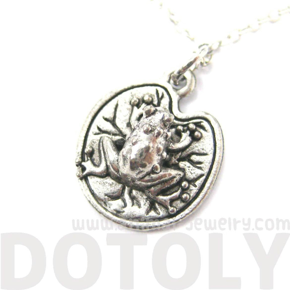 Detailed Toad Frog on A Lilypad Shaped Charm Necklace | MADE IN USA