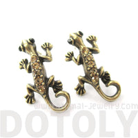 Detailed Gecko Lizard Shaped Stud Earrings in Brass with Rhinestones