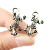 Detailed Gecko Lizard Shaped Stud Earrings in Silver with Rhinestones