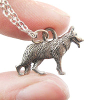 Detailed German Shepherd Dog Shaped Charm Necklace | MADE IN USA