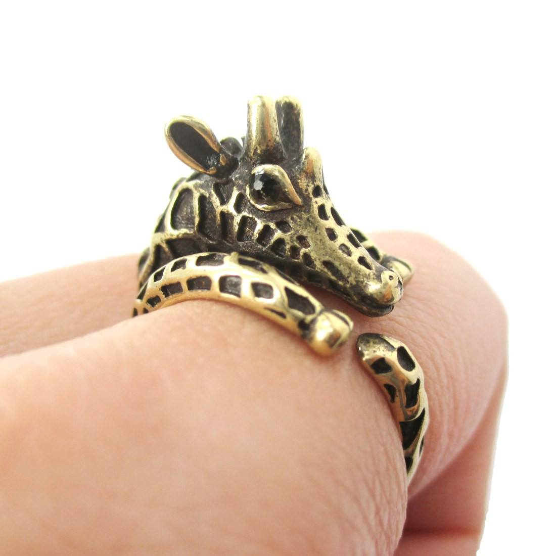 Detailed Giraffe Shaped Spotted Animal Wrap Ring in Brass | DOTOLY