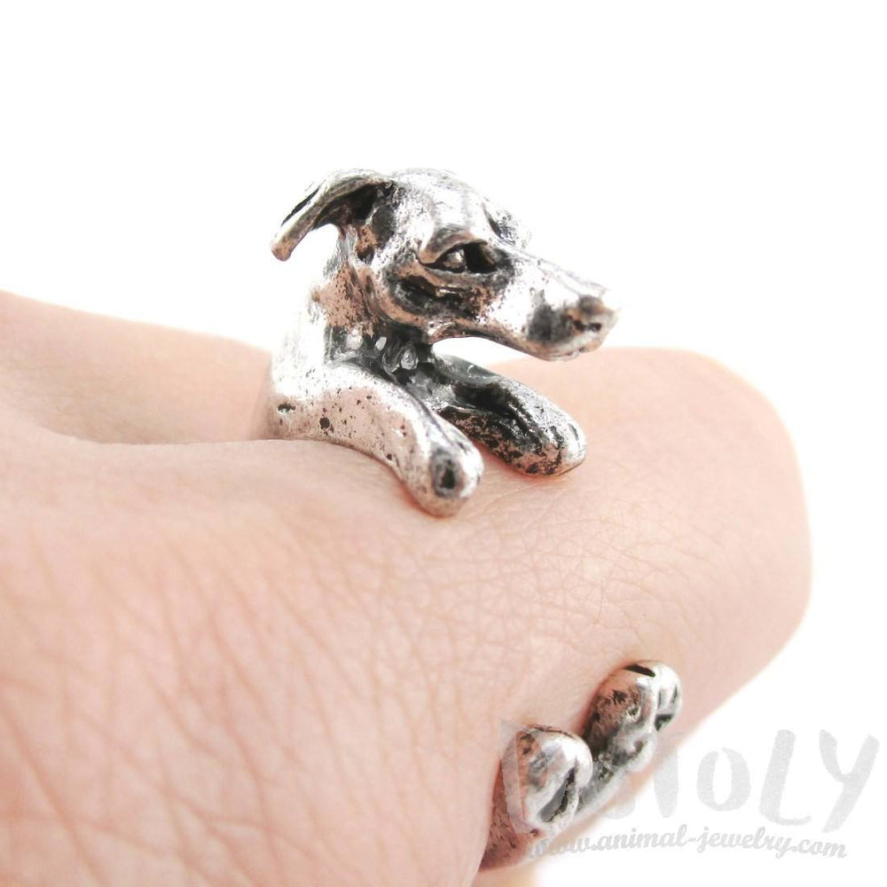 Greyhound Dog Shaped Animal Wrap Around Ring in Silver