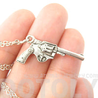 Detailed Gun Pistol Revolver Shaped Charm Necklace | MADE IN USA