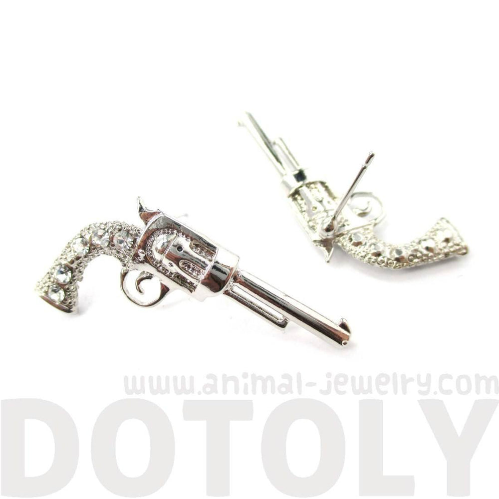 Gun Pistol Revolver Shaped Stud Earrings in Silver with Rhinestones