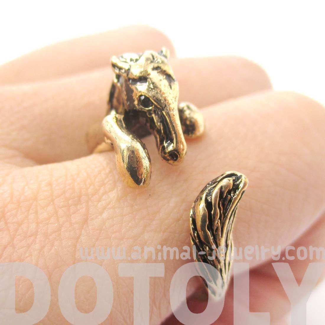 Detailed Horse Pony Animal Wrap Around Ring in Shiny Gold | DOTOLY