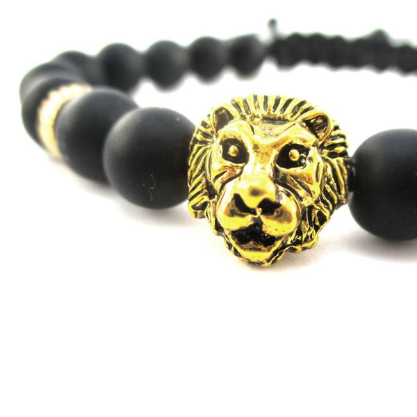 Detailed Lion Face Charm Adjustable Length Black Beaded Bracelet in Gold